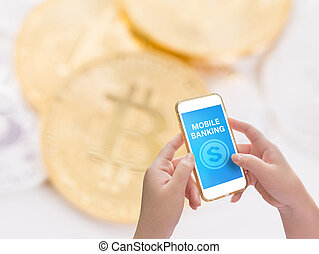 Mobile banking application with bitcoin online digital money