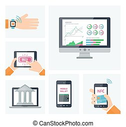 Mobile banking concept, digital wallet infographic elements. Vector mobile devices with icons in flat style
