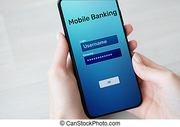 Mobile banking internet payment application on smartphone screen.