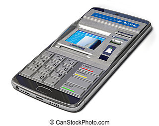 Mobile banking, online payments and digital financial services concept.Smartphone with ATM on  screen.