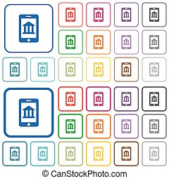 Mobile banking outlined flat color icons