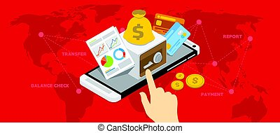 mobile banking shopping transaction with smartphone