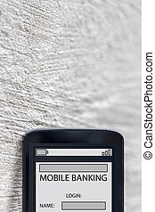 mobile banking smartphone composing