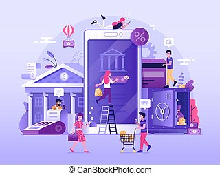 mobile, banque, illustration
