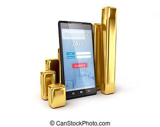 mobile, banque, poursuite, taux, échange