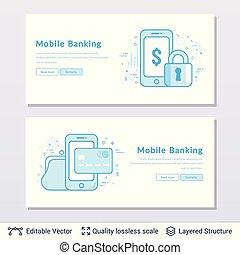 mobile, banque, symbols.