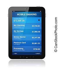mobile, banque, tablette, numérique
