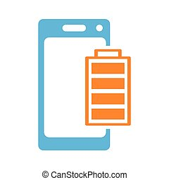 mobile battery charging icon on white background