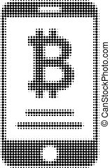 Mobile Bitcoin Account Halftone Dotted Icon