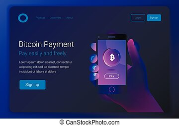 Mobile bitcoin payment concept.