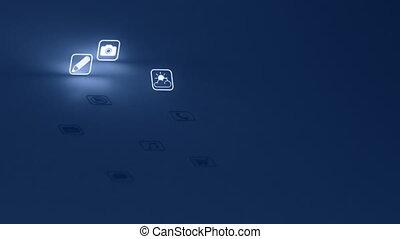mobile, bleu, incandescent, app, icônes