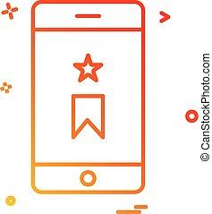 mobile bookmark icon vector design