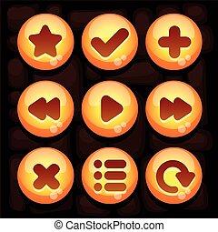 mobile, bouton, ensemble, jeu