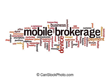Mobile brokerage cloud concept on white background