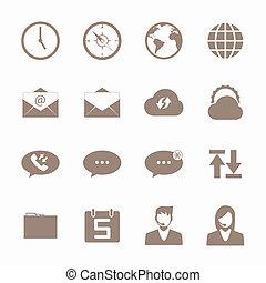 mobile, brun, ensemble, icône, téléphone