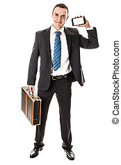 Mobile business - an handsome businessman with a smartphone...