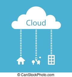 mobile, calculer, concept., bureau, tablettes, maison, nuage
