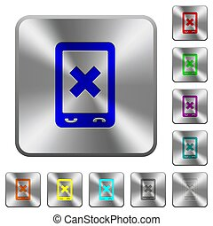 Mobile cancel rounded square steel buttons