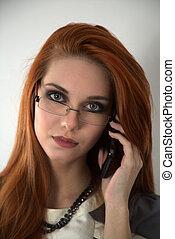mobile, capelli, donna, telefono rosso