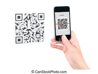 mobile, capture, code, qr, téléphone