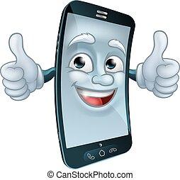 mobile, caractère, téléphone portable, dessin animé, mascotte