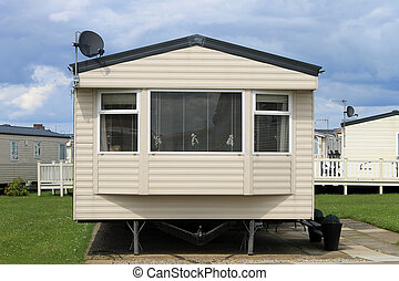 Mobile caravans or trailers in modern holiday park