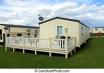 Mobile caravans or trailers in modern holiday park