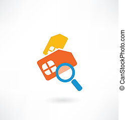 mobile card under a magnifying glass icon