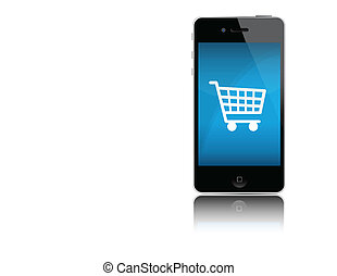 Mobile cart online shopping isolated over white