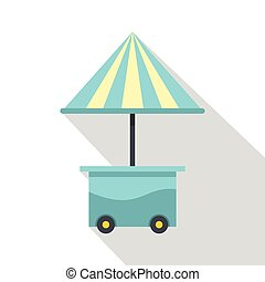 Mobile cart with blue umbrella icon, flat style