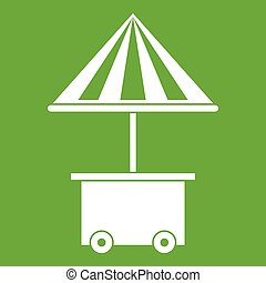 Mobile cart with umbrella for sale food icon green
