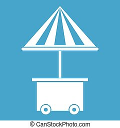 Mobile cart with umbrella for sale food icon white