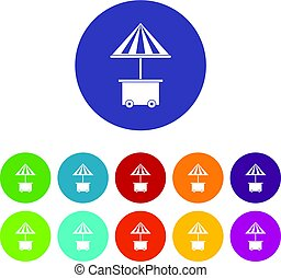 Mobile cart with umbrella for sale food icons set