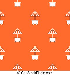Mobile cart with umbrella for sale food pattern seamless