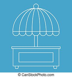 Mobile cart with umbrella icon, outline style