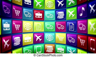 """""""Mobile cell apps store"""" - """"Loopable Abstract concept of..."""