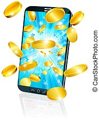 Mobile Cell Phone Flying Coin Money Concept