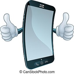 Mobile Cell Phone Mascot Cartoon Character