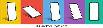 mobile, cellule, mockup, intelligent, 3d, téléphone, appareil
