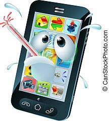 mobile, cellule, virus, dessin animé, téléphone