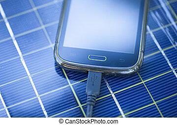 mobile, chargeur, charger, solaire, téléphone