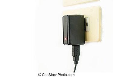 mobile, chargeur, sortie électrique, téléphone