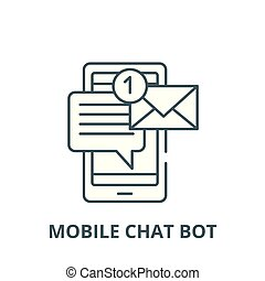 Mobile chat bot vector line icon, linear concept, outline sign, symbol