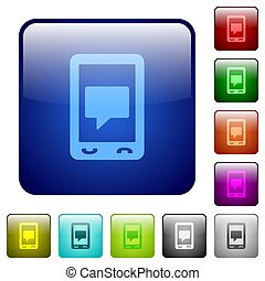 Mobile chat color square buttons