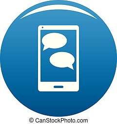 Mobile chat icon blue vector
