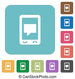Mobile chat rounded square flat icons