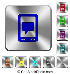 Mobile chat rounded square steel buttons
