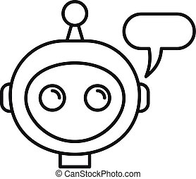 Mobile chatbot icon, outline style