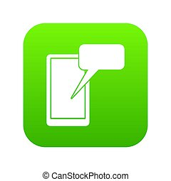 Mobile chatting icon digital green