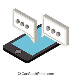 Mobile chatting isometric 3d icon